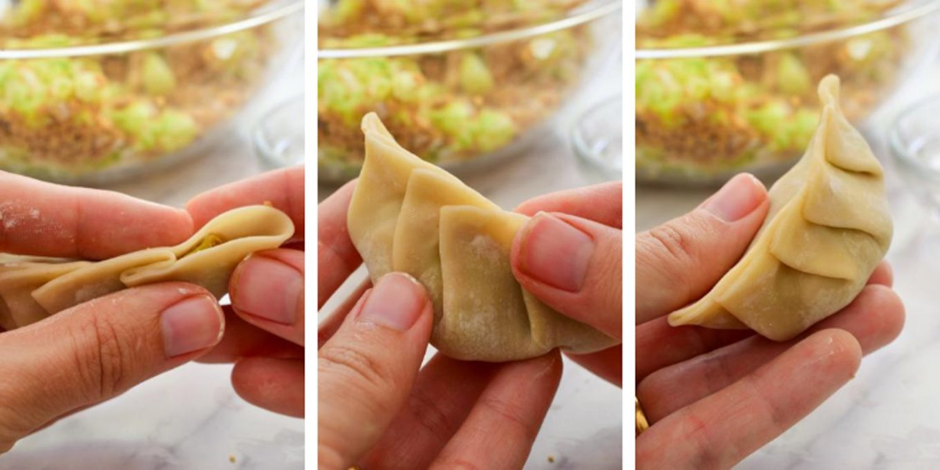 A collage showing hands folding of vegan potstickers and the final dumpling shape.