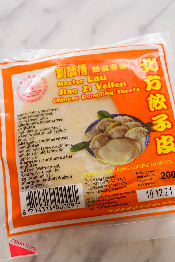 A package of Master Las brand vegan wonton wrappers.